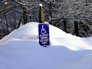image of wheelchair sign in snow by imrambi on flickr cc