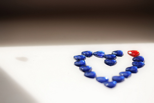 blue and red jeweled heart by Neal on flickr cc