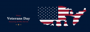 map of US filled in with U.S. flag design with soldier silhouettes